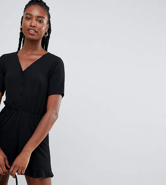 New Look Tall button through romper in black