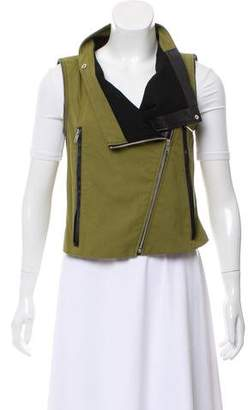 Yigal Azrouel Cut25 by Leather-Trimmed Collarless Vest