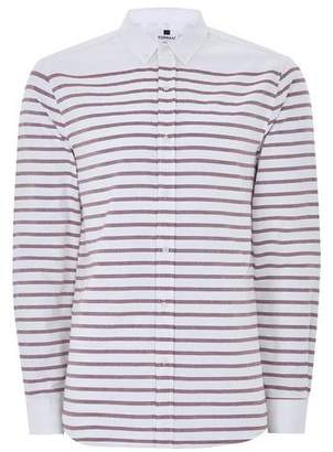 Topman Mens Red White And Burgundy Stripe Long Sleeve Shirt