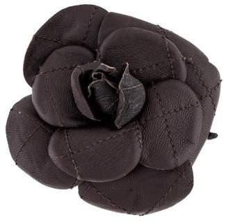 Chanel Leather Camélia Brooch