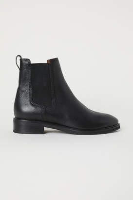 H&M Leather Chelsea Boots - Black