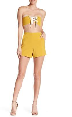 Gracia Lace-Up Bandeau & Solid Shorts 2-Piece Set