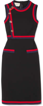 Gucci Button-detailed Grosgrain-trimmed Stretch-jersey Dress - Black