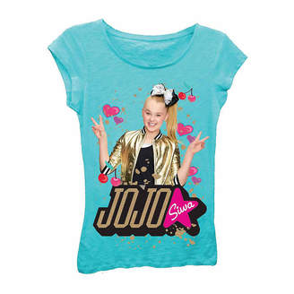 Asstd National Brand JoJo Siwa Peace Sign with Hearts and Cherries Short Sleeve Graphic T-Shirt with Gold Glitter-Girls 7-16