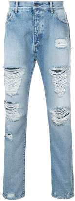 Palm Angels straight-leg ripped jeans