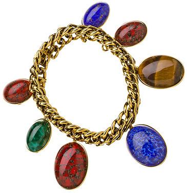Yochi Design Yochi Oval Stone Charm Bracelet