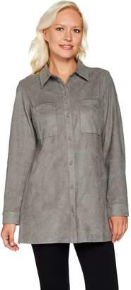 Denim & Co. Faux Suede Long Sleeve Snap Front Utility Shirt