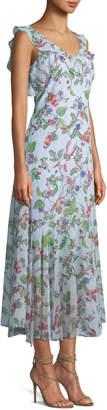 Nanette Lepore Nanette Sleeveless V-Neck Floral-Print Chiffon Maxi Dress