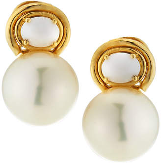 Belpearl 18k White Agate & Pearl Drop Earrings