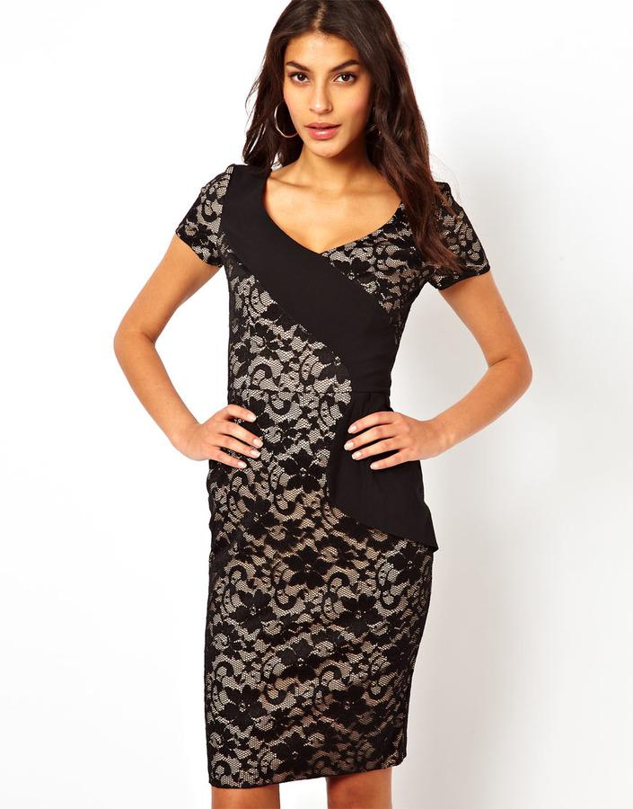 Hybrid Pencil Dress In Lace - Black