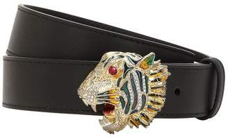 Gucci 30mm Tiger Buckle Leather Belt