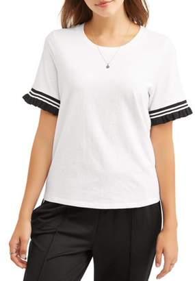 Self Esteem Juniors' Athletic Stripe Ruffle Short Sleeve T-Shirt