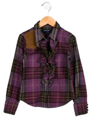 Ralph Lauren Girls' Plaid Button-Up Top