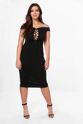 boohoo Plus Anna Off The Shoulder Lace Up Midi Dress
