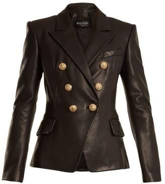 Balmain Double-breasted peak-lapel leather blazer