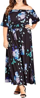 City Chic Suzu Floral Maxi Off the Shoulder Dress