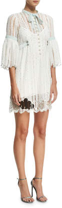 Marc Jacobs 3/4-Sleeve Striped Lace Babydoll Cocktail Dress, White
