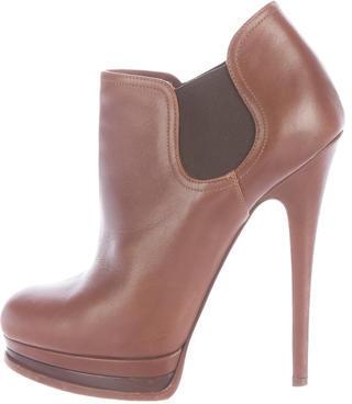 Casadei Leather Platform Ankle Boots $125 thestylecure.com