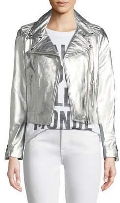 LaMarque Donna Metallic Leather Biker Jacket
