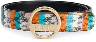 Emilio Pucci Striped Ayers Logo Buckle Belt