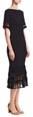 Lela Rose Fringe Flounce Hem Sheath Dress