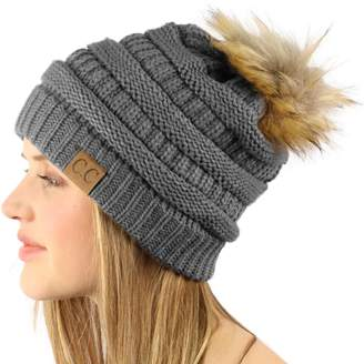 4880cf262d5 at Amazon Canada · SK Hat shop Soft Chunky Thick Knit Faux Fur Pom Pom Slouch  Beanie Skull Ski Hat