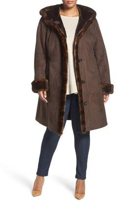 Plus Size Women's Gallery Faux Shearling A-Line Coat $360 thestylecure.com