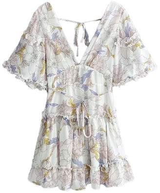 Goodnight Macaroon 'Taffeta' Floral Open Back Flared Mini Dress