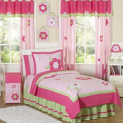 JoJo Designs Sweet Flower Pink and Green Kid Bedding Collection