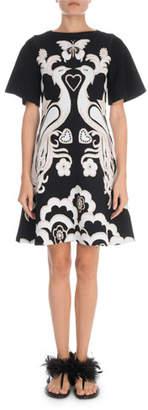 Valentino Short-Sleeve Peacock-Jacquard Fenice-Knit Dress