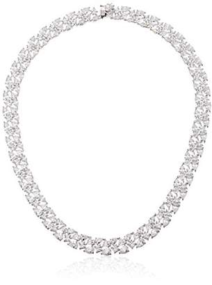 Fine Silver Plated Bronze Cubic Zirconia Collar Necklace