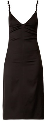 Bottega Veneta Knotted Strap Satin Pencil Dress - Womens - Black