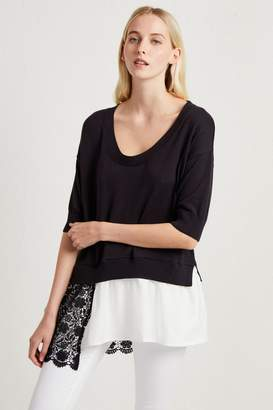 French Connenction Fulaga Lace Knit Scoop Neck Jumper