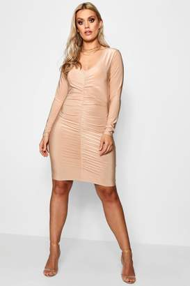 boohoo Plus Slinky Ruched Front Bodycon Dress