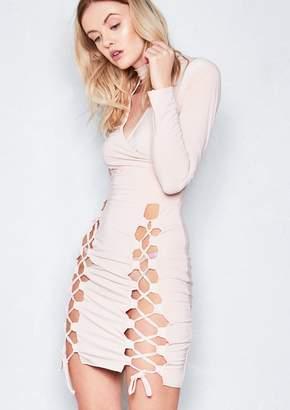 c43e4bd584d22 Missy Empire Missyempire Cecelia Nude Lace Up Bodycon Choker Dress