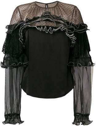 Self-Portrait lace trim blouse