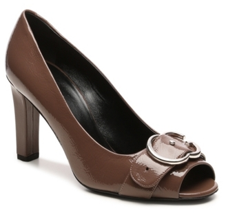 Final Sale - Gucci Patent Leather Interlocking G Peep Toe Pump $575 thestylecure.com