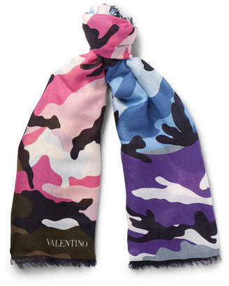 Valentino Camouflage-Print Modal and Cashmere-Blend Scarf - Men - Multi
