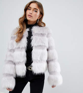Asos DESIGN Petite textured faux fur coat