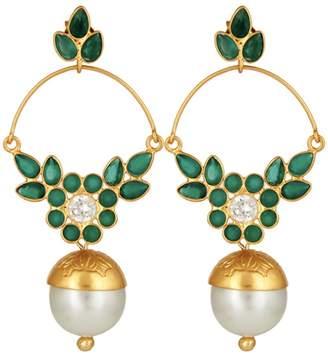 Carousel Jewels - Delicate Pearl & Green Onyx Earrings