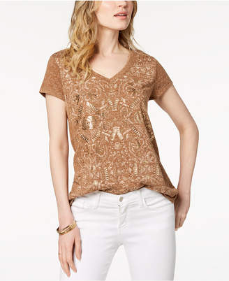 Style&Co. Style & Co Metallic Graphic T-Shirt