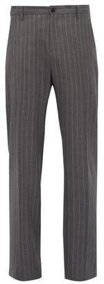 Versace Pinstriped Tailored Wool Trousers - Mens - Grey