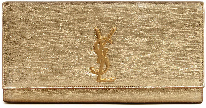 Saint Laurent Cassandre Metallic Logo Clutch Bag, Golden