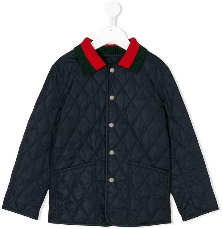 Gucci Kids back-print quilted jacket with Web