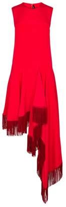 Calvin Klein Red Fringed Silk Dress