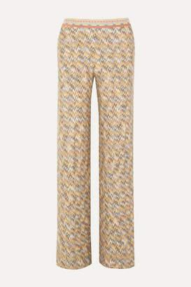 Missoni Crochet-knit Wool Wide-leg Pants - Light green