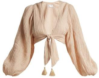 Zimmermann Bayou Tie Front Crinkled Ramie Blend Top - Womens - Nude