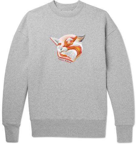 Maison Kitsuné Embroidered Mélange Loopback Cotton-Jersey Sweatshirt