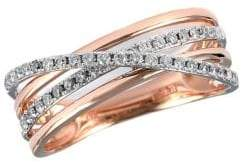 Effy 14 Kt Rose Gold Layered Diamond Band