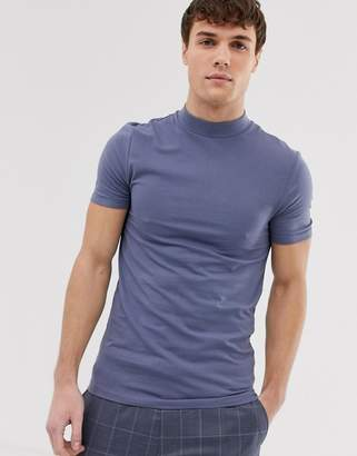 Asos Design DESIGN organic muscle fit with stretch t-shirt with turtleneck in gray